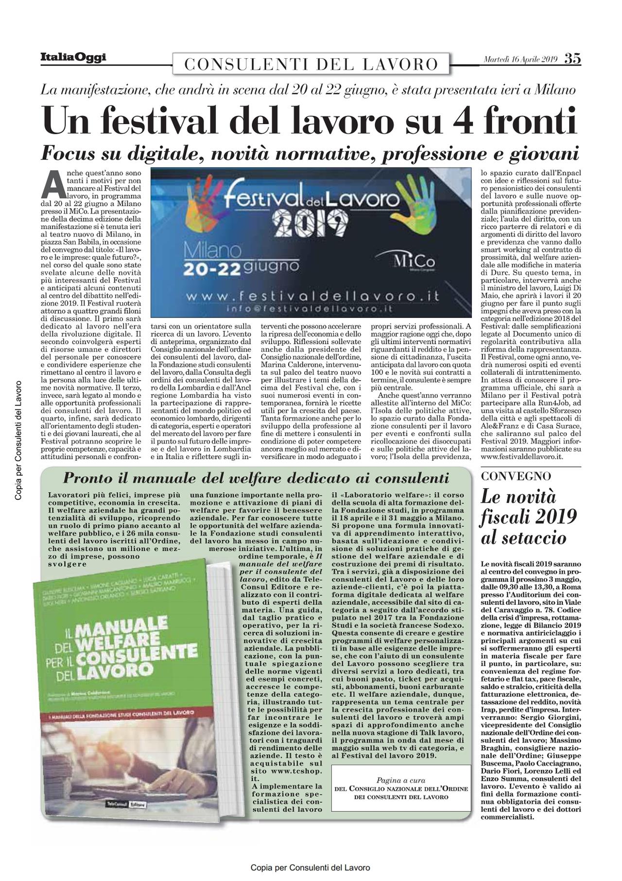 Consulenti Del Lavoro Official Site Italia Oggi Del 16