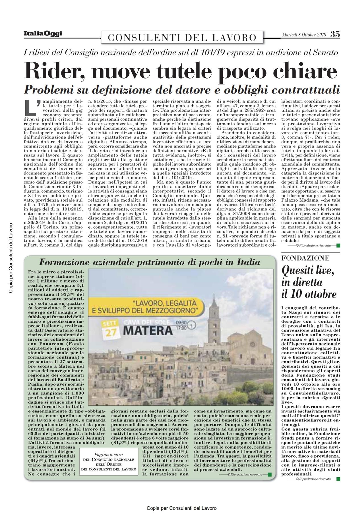 Consulenti Del Lavoro Official Site Italia Oggi Dell 8