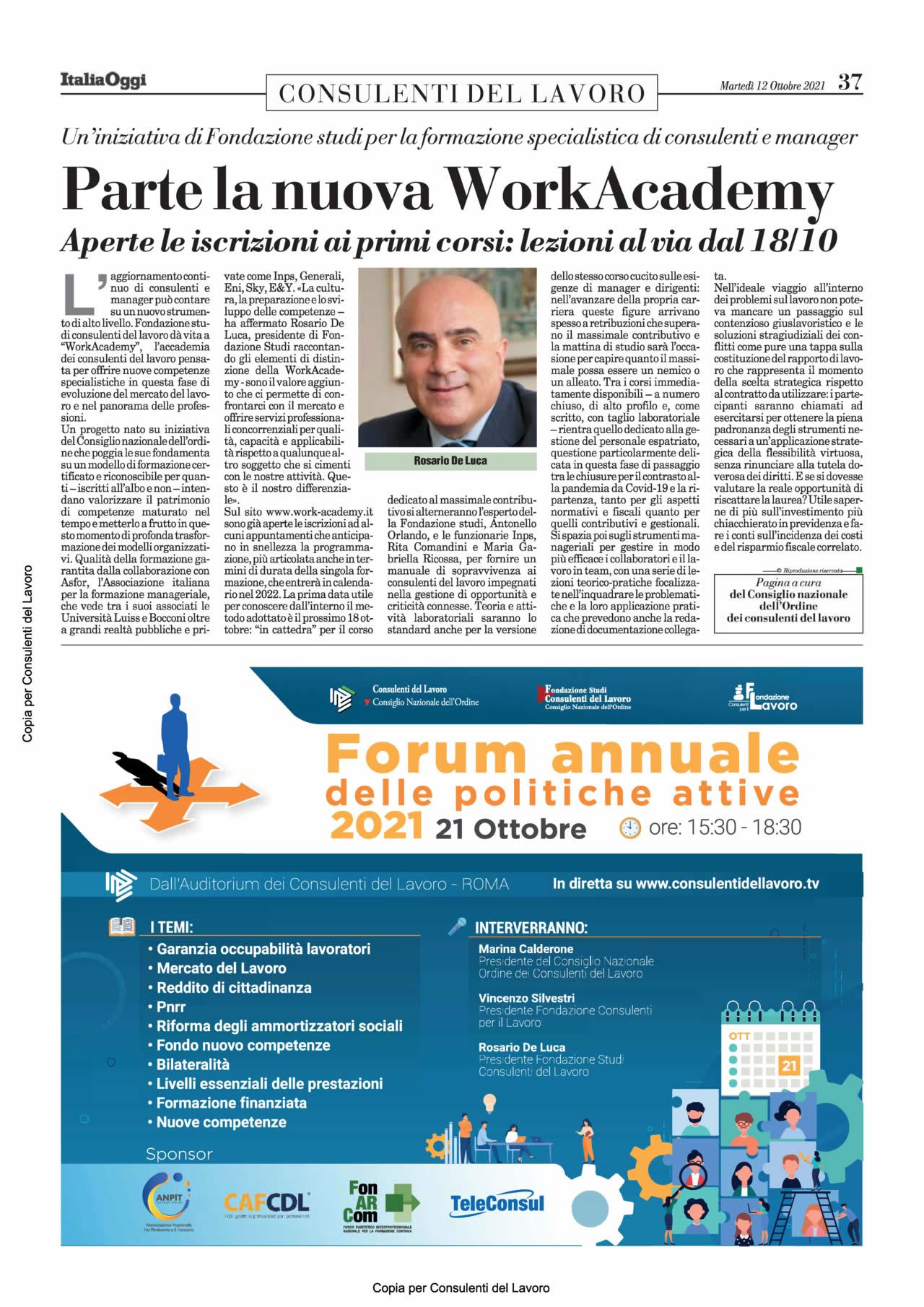 Consulenti del Lavoro - Italia Oggi del 12 ottobre 2021