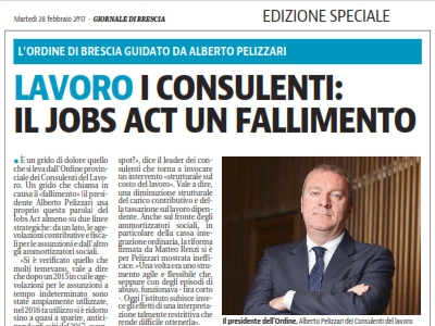 Jobs Act è un fallimento, Ordine di Brescia interviene