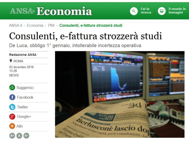 """De Luca: E-Fattura """"intollerabile incertezza operativa"""""""