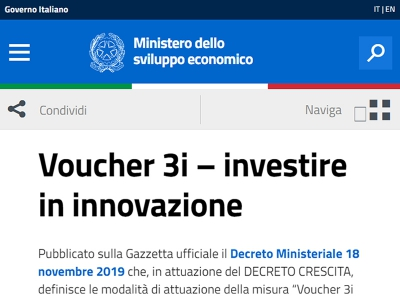 "Al via il ""Voucher 3I"" per le start up innovative"