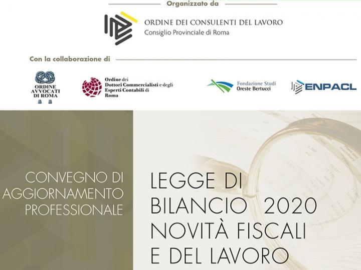 Legge di bilancio 2020 e novità fiscali e di lavoro: il convegno del 21.01 a Roma